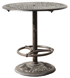 """36"""" Round Pedestal Bar Table Weave with Footrest"""