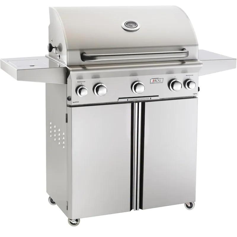 AOG L Series 30 Inch 3 Burner Freestanding Grill with Rotisserie Single Side Burner