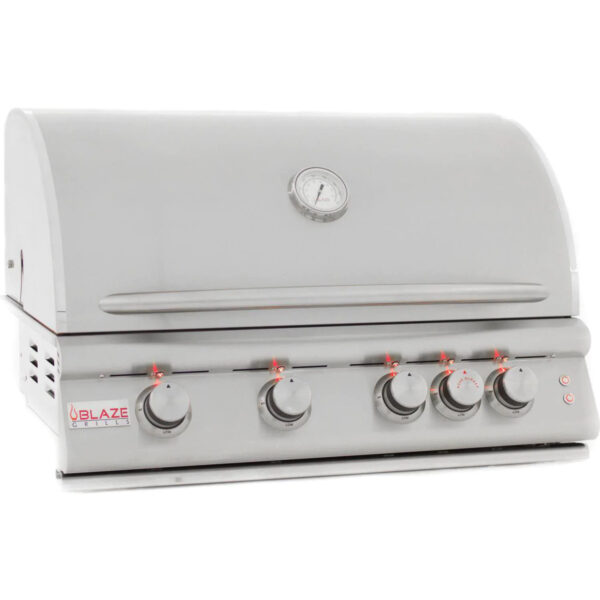 Blaze Premium LTE 32 Inch 4 Burner Built In Gas Grill With Rear Infrared Burner Grill Lights