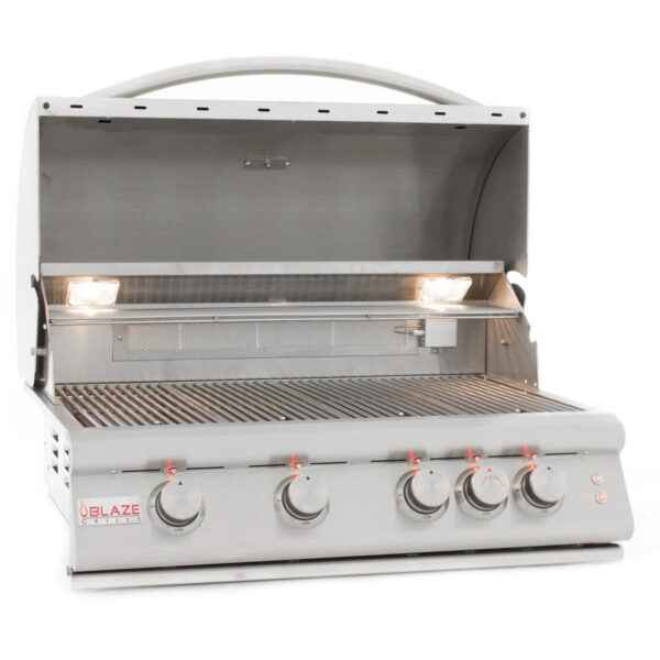 Blaze Premium LTE 32 Inch 4 Burner Built In Gas Grill With Rear Infrared Burner Grill Lights Open