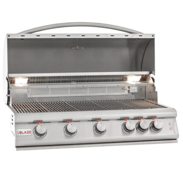 Blaze Premium LTE 40 Inch 5 Burner Built In Gas Grill With Rear Infrared Burner Grill Lights Open