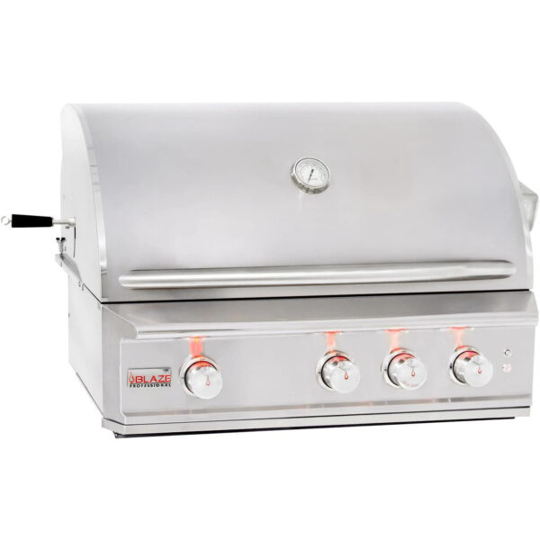 Blaze Pro LUX 34 Inch 3 Burner Built In Natural Gas Grill With Rear Infrared Burner