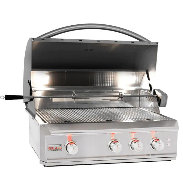 Blaze Pro LUX 34 Inch 3 Burner Built In Natural Gas Grill With Rear Infrared Burner Open