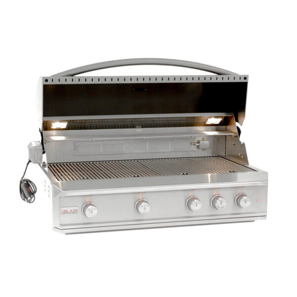 Blaze Pro LUX 44 Inch 4 Burner Built In Propane Gas Grill With Rear Infrared Burner Open