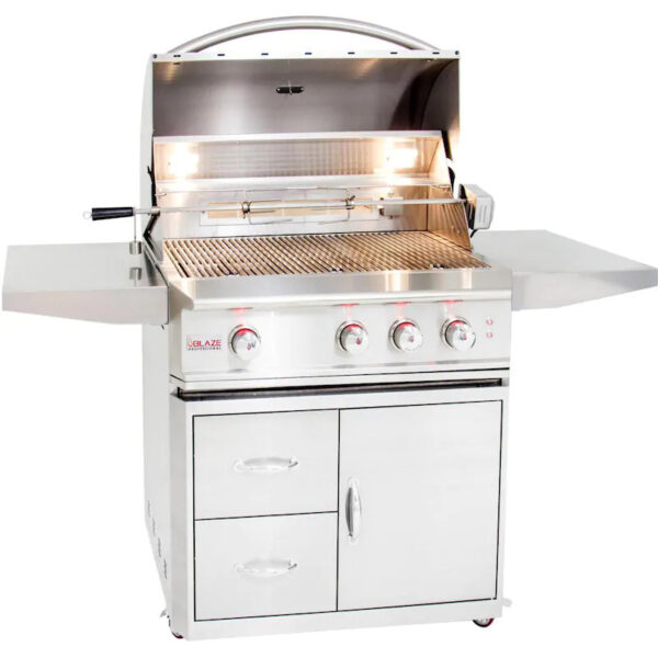 Blaze Professional LUX 34 Inch 3 Burner Gas Grill With Rear Infrared Burner Open 1