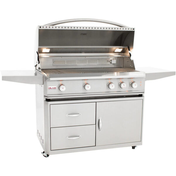 Blaze Professional LUX 44 Inch 4 Burner Gas Grill With Rear Infrared Burner Open 1