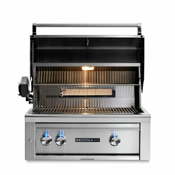 Lynx Sedona 30 Inch Built In Gas Grill With Rotisserie Open