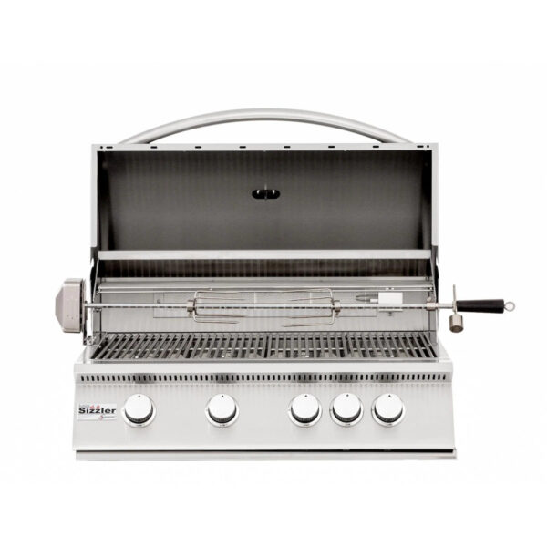 Summerset Sizzler 32 Inch 4 Burner Built In Gas Grill With Rear Infrared Burner Open