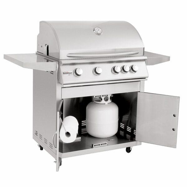 Summerset Sizzler 32 Inch 4 Burner Gas Grill With Rear Infrared Burner Open