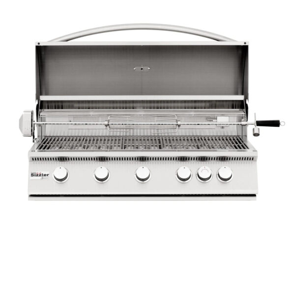 Summerset Sizzler 40 Inch 5 Burner Built In Gas Grill With Rear Infrared Burner Open
