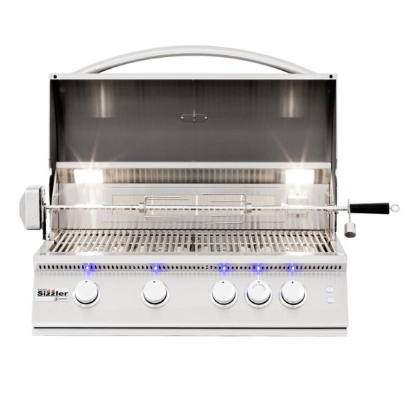 Summerset Sizzler Pro 32 Inch 4 Burner Built In Gas Grill With Rear Infrared Burner Open