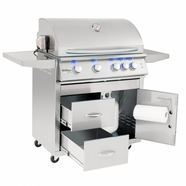 Summerset Sizzler Pro 32 Inch 4 Burner Gas Grill With Rear Infrared Burner Open