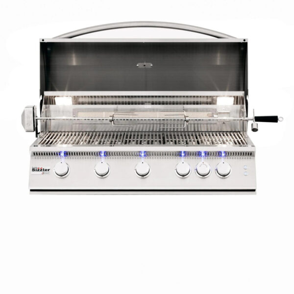 Summerset Sizzler Pro 40 Inch 5 Burner Built In Gas Grill With Rear Infrared Burner Open