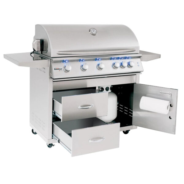 Summerset Sizzler Pro 40 Inch 5 Burner Gas Grill With Rear Infrared Burner Open