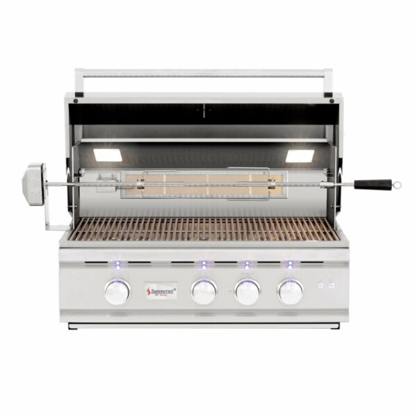 Summerset TRL 32 Inch 3 Burner Built In Gas Grill With Rotisserie Open