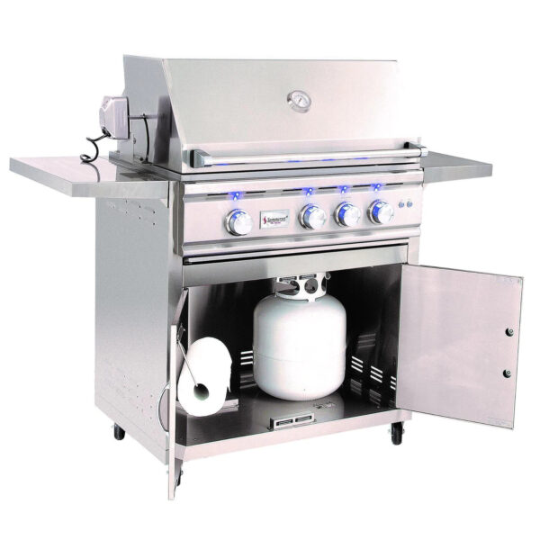 Summerset TRL 32 Inch 3 Burner Gas Grill With Rotisserie Open