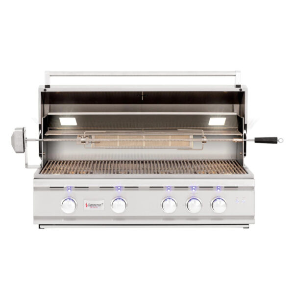 Summerset TRL 38 Inch 4 Burner Built In Gas Grill With Rotisserie Open