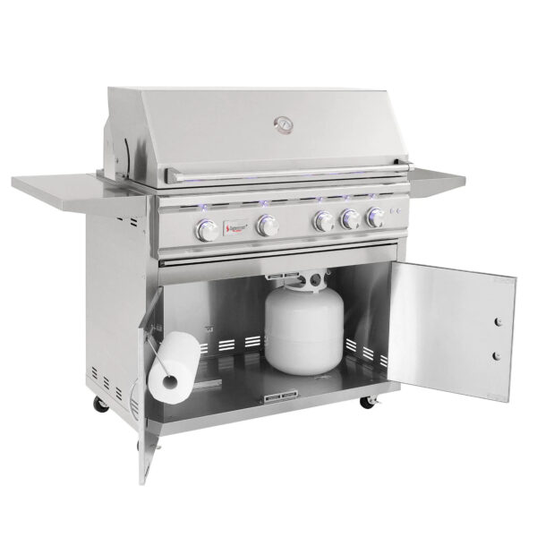 Summerset TRL 38 Inch 4 Burner Gas Grill With Rotisserie Open