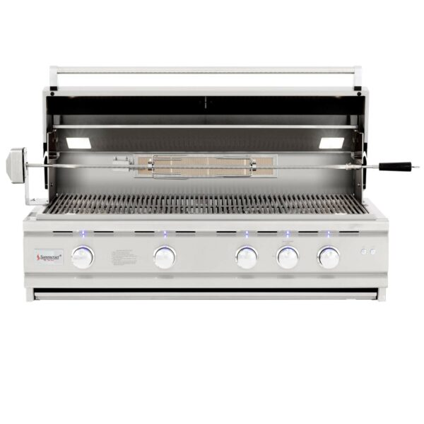 Summerset TRL Deluxe 44 Inch 4 Burner Built In Gas Grill With Rotisserie Open