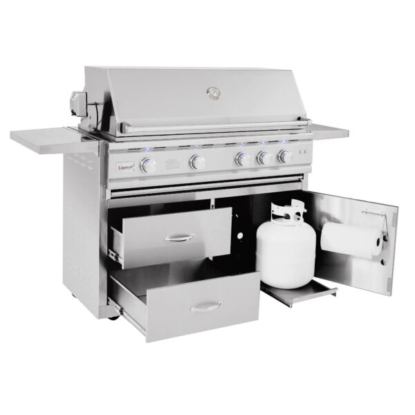 Summerset TRL Deluxe 44 Inch 4 Burner Gas Grill With Rotisserie Open