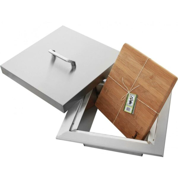 """PCM 14"""" Stainless Steel Trash Chute With Cutting Board Cover"""